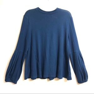 Free People Blue Long Bishop Sleeve Cotton Blouse
